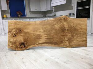 Spalted Beech Slab Resin Table Steel Loop Leg