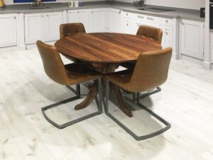 Solid Walnut Round Extending Flip Top Table Traditional Pedestal