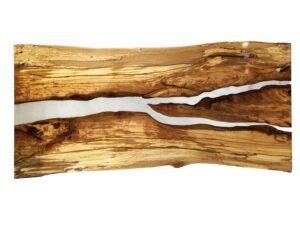 Splated Beech Resin Split River Table Stainless Steel Legs
