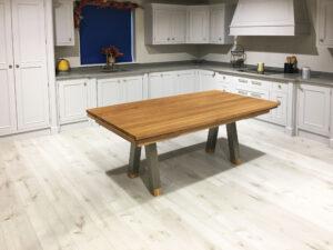 Oak Curved Drawleaf Table Stainless Steel Legs