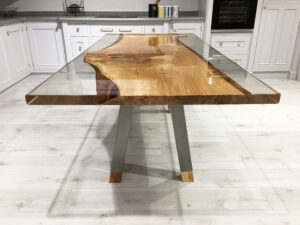 Spalted Beech Ophilia Range Table Clear Resin Sides Stainless Steel Legs