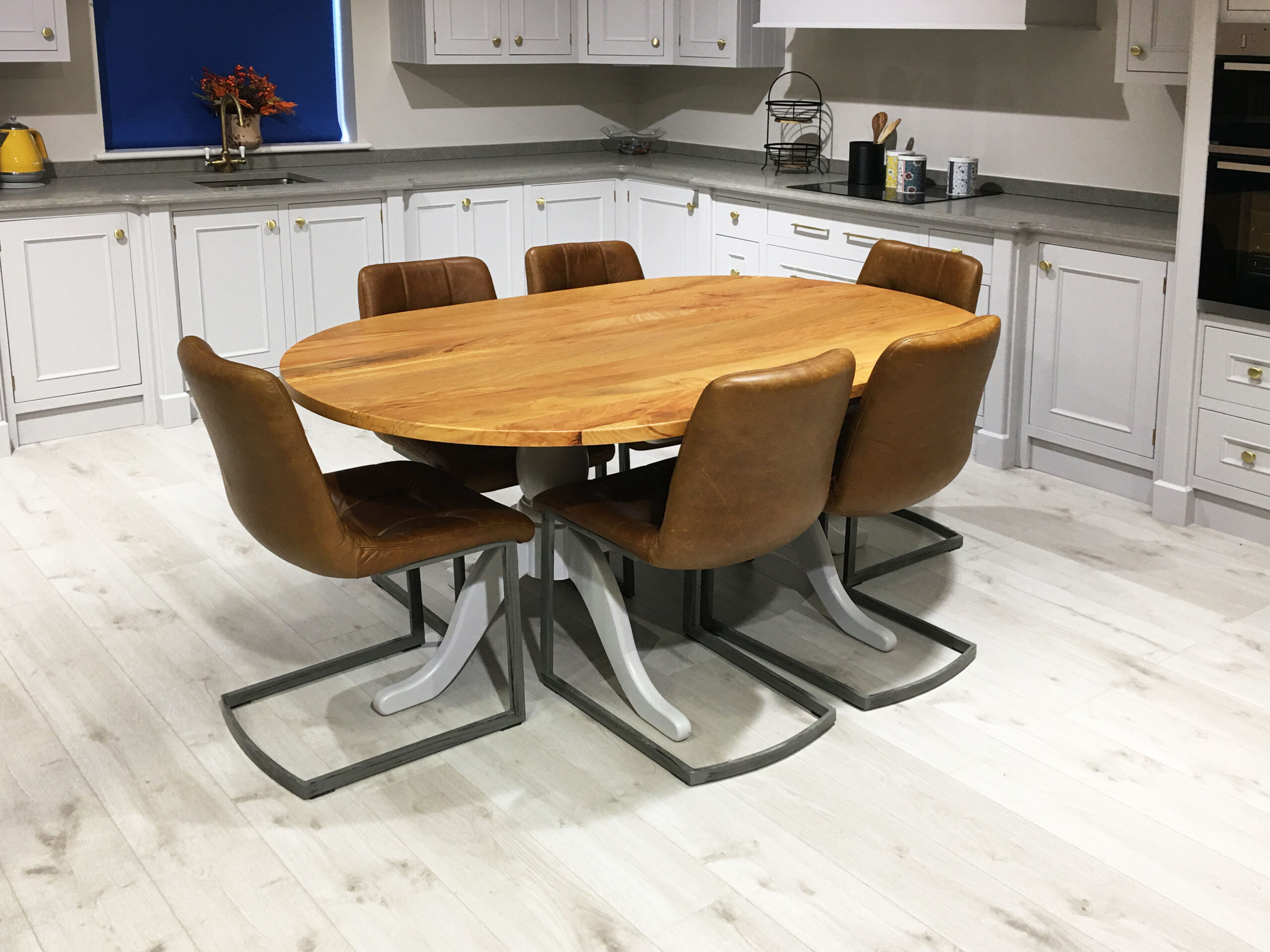 Spalted Beech Oval Double Grey Double Pedestal Table