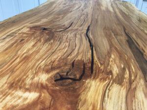 Spalted Beech Rectangular Resin Slab Glasss Leg Table