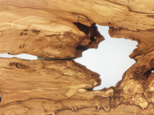 Spalted Beech Lake Table Splayed Timber Legs