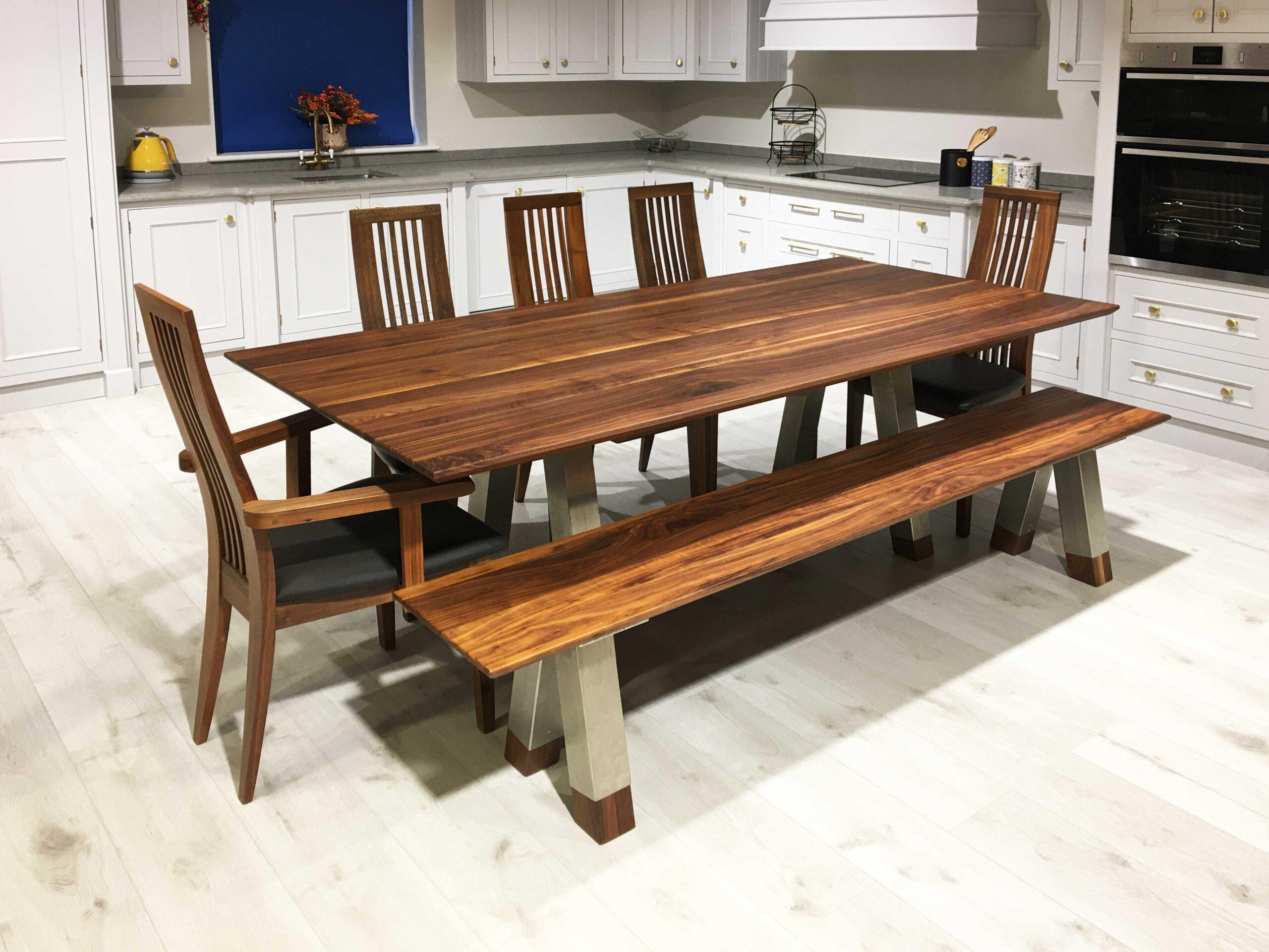 Walnut Rectangular Table Stainless Steel Legs