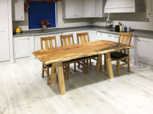 Spalted Beech Slab Resin Table Grey Sycamore Legs 1860x1000
