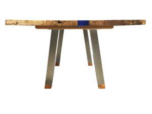 Spalted Beech Rectangular Blue Metallic Resin River Table Stainless Steel Legs 2200x1050